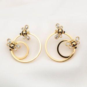 Kate Spade picnic perfect bee hoop earrings